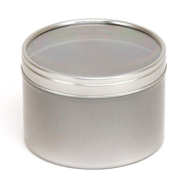 Metallpurk hõbe aknaga 250 ml