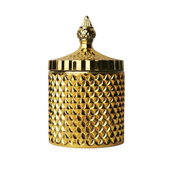 Küünlaklaas kaanega kuldne 300 ml